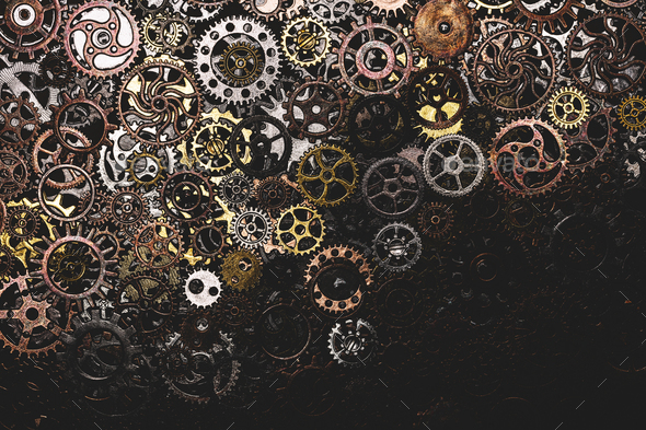 Bunch of cogwheels laying down - Stock Photo - Images