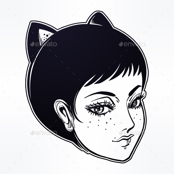 Anime or Retro Manga Style Woman with Cat Ears - Monsters Characters