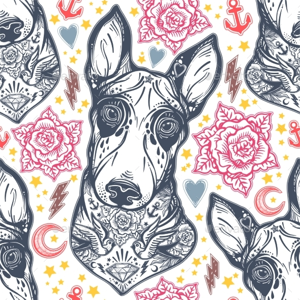 Flash Bull Terrier Dog Seamless Pattern and Roses. - Backgrounds Decorative