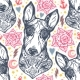 Flash Bull Terrier Dog Seamless Pattern and Roses.