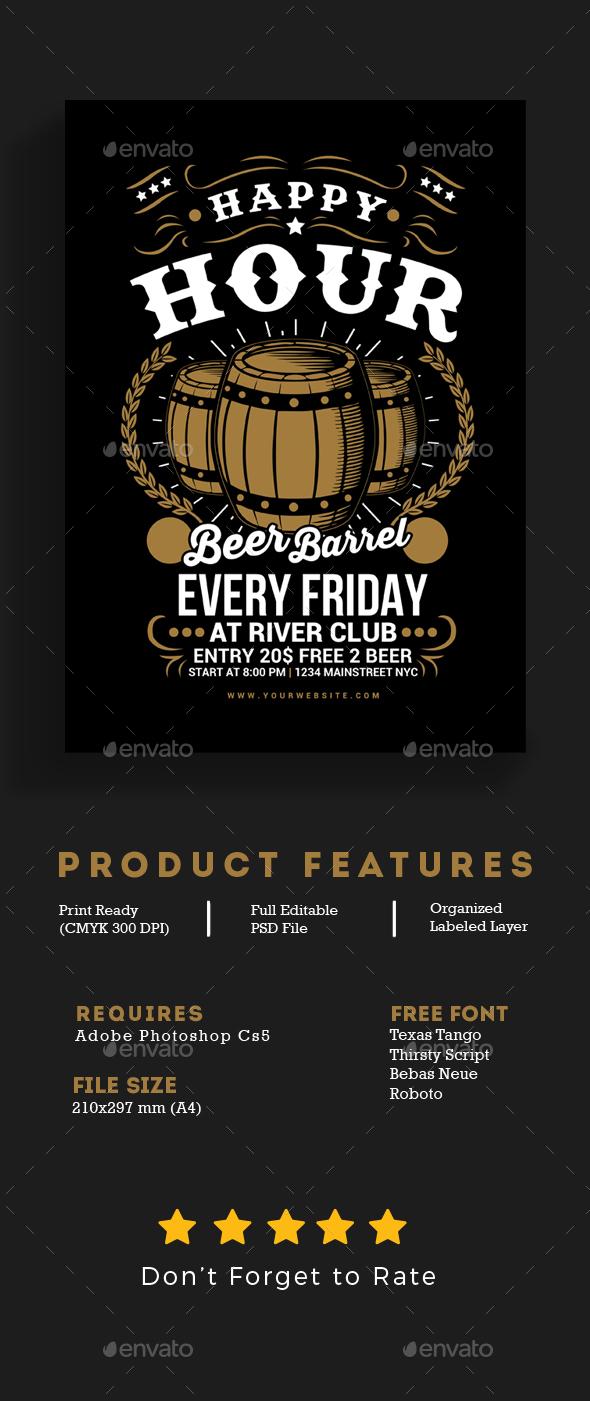 Happy Hour Beer Barrel Flyer - Events Flyers