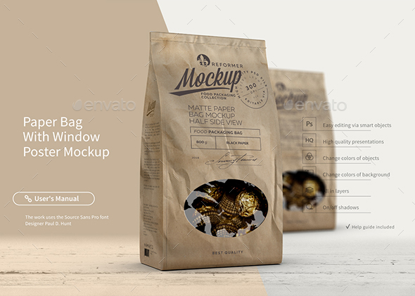 Paper Bag With Window Poster Mockup - Food and Drink Packaging