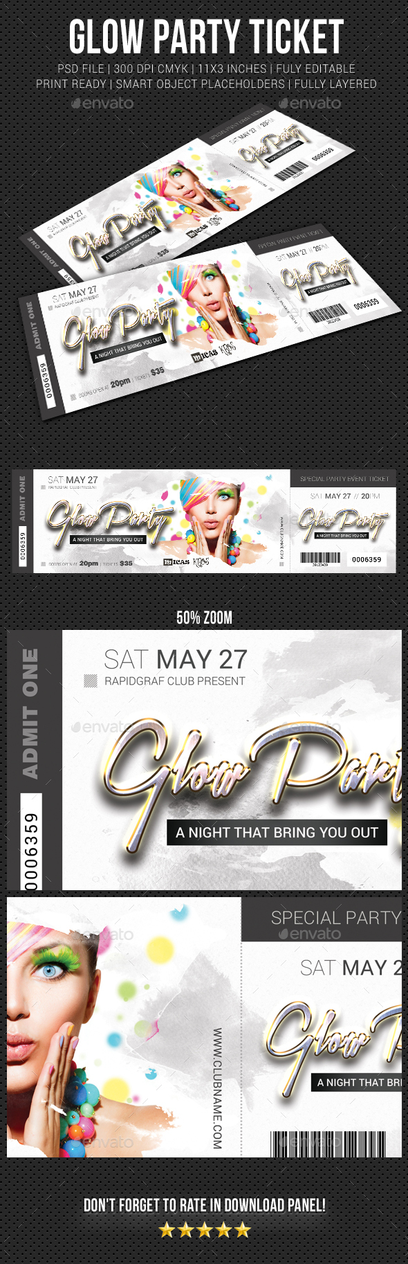 Glow Party Event Ticket - Cards & Invites Print Templates