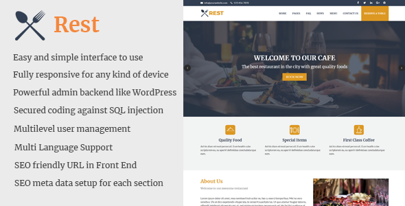 Rest - Cafe and Restaurant Website CMS - CodeCanyon Item for Sale