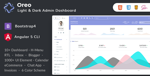 Image of Oreo - Bootstrap4 Angular 5 Dashboard with Light & Dark Version + UI Kit