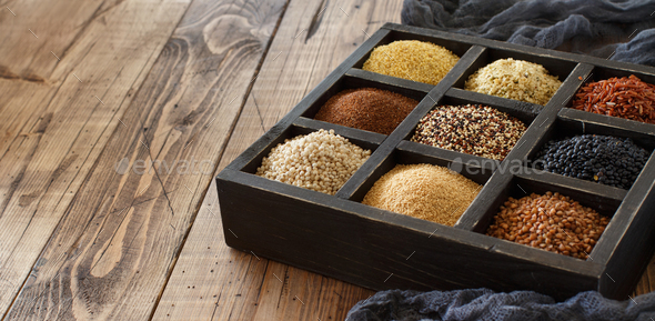 Gluten free grains in a box - Stock Photo - Images