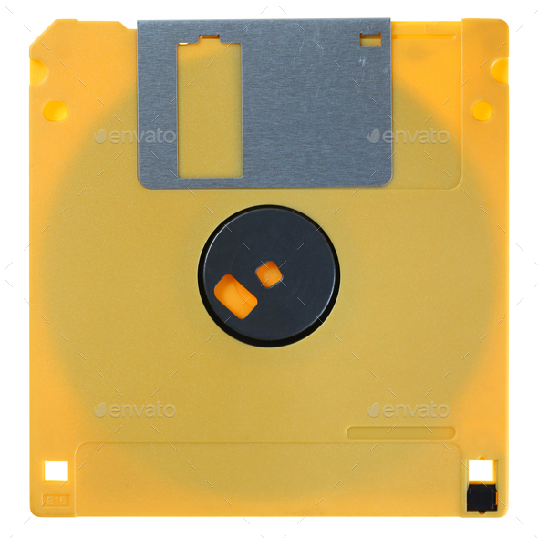 Yellow floppy disk isolated on white - Stock Photo - Images
