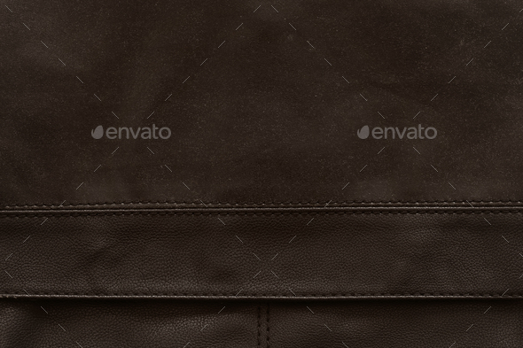 Brown leather with seam as a background - Stock Photo - Images