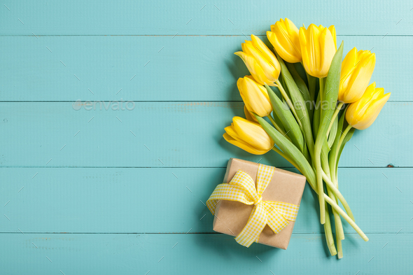 Yellow tulips and gift box on blue wooden background - Stock Photo - Images