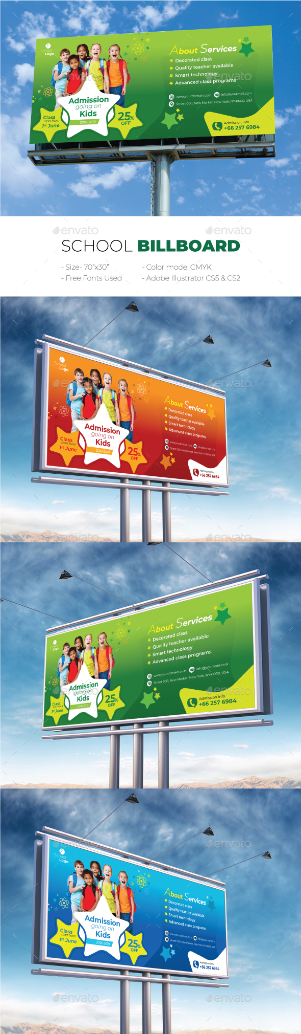School Billboard - Signage Print Templates