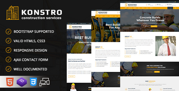 Image of Konstro - Construction Responsive HTML5 Template