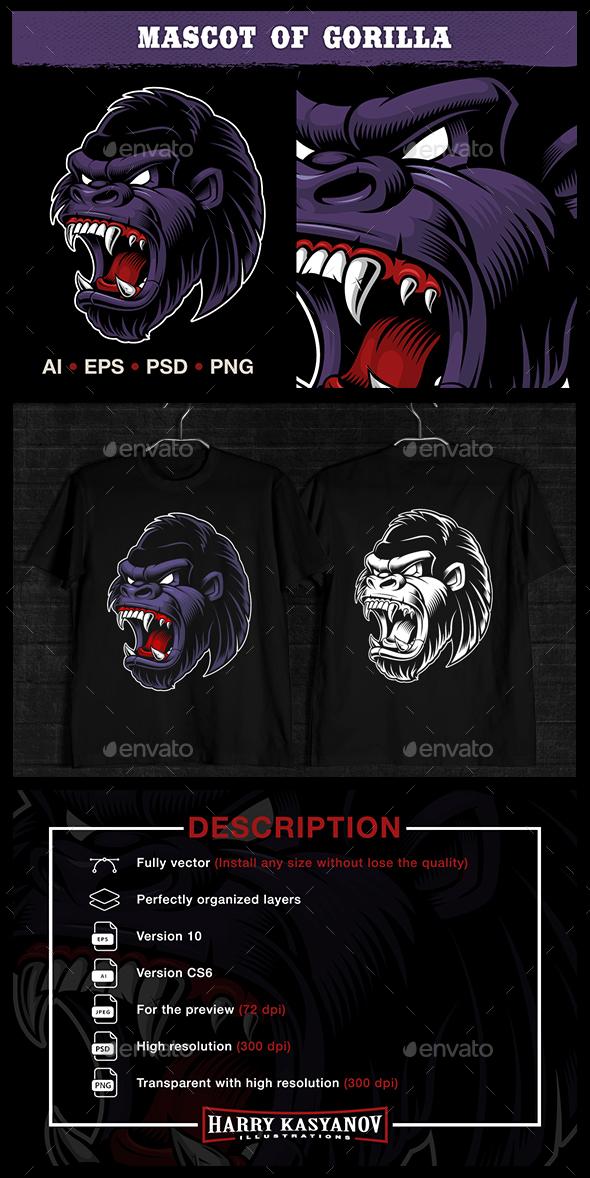 Head of Gorilla - Animals Characters