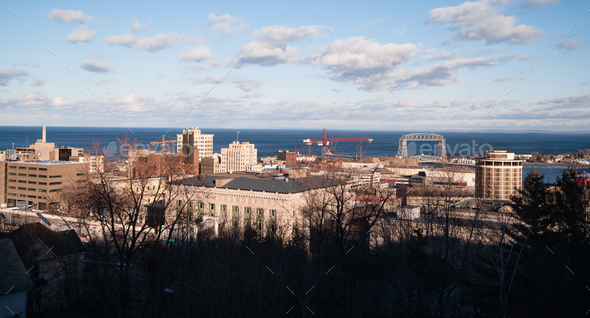 Stark Winter Day Duluth Downtown Minnesota Great Lake Superior - Stock Photo - Images