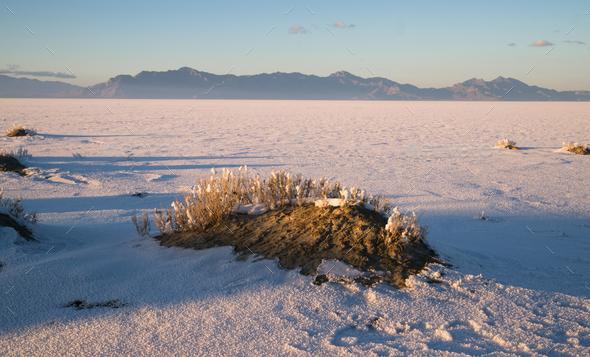 Bonneville Salt Flats Graham Peak Sunset Mountain Range - Stock Photo - Images