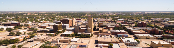 Sunday Morning Over Empty Street lubbock Texas Downtown Skyline - Stock Photo - Images