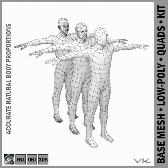 Male Low Poly Base Mesh in T-Pose - 3DOcean Item for Sale