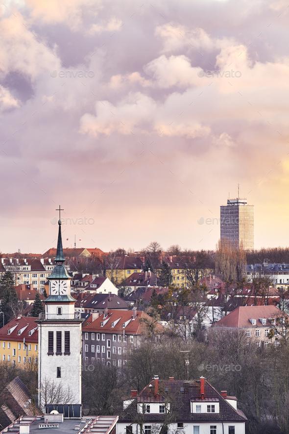 Purple sunset over Szczecin City, Poland - Stock Photo - Images