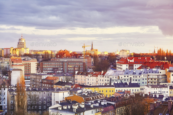 Purple sunset over Szczecin City, Poland - Stock Photo - Images