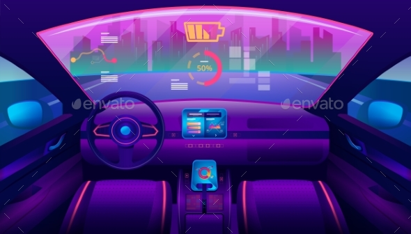 Inside View on Futuristic Self-Driving Car Salon - Man-made Objects Objects