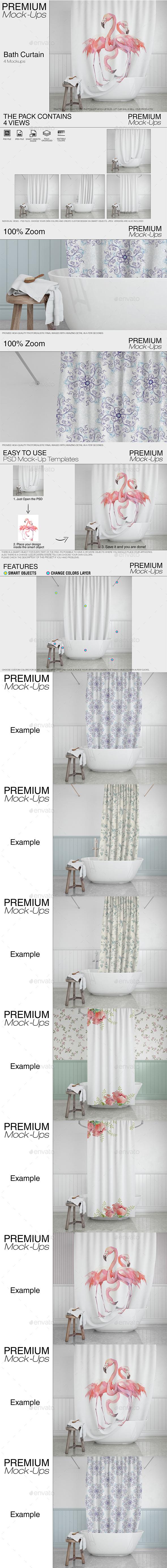 Bath Curtain Mockup Pack - Print Product Mock-Ups