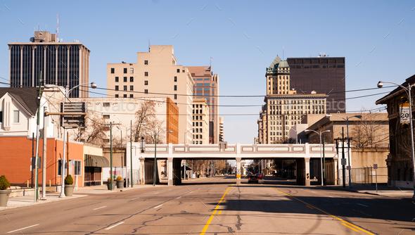 Lonely Sunday Morning Desolate Street Downtown City Skyline Dayton Ohio - Stock Photo - Images
