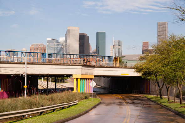 Overpass Tunnel Road Towards Houston Texas Downtown City Skyline - Stock Photo - Images