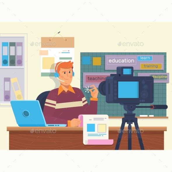 Education Video Blog Filming Backstage Concept - Miscellaneous Vectors