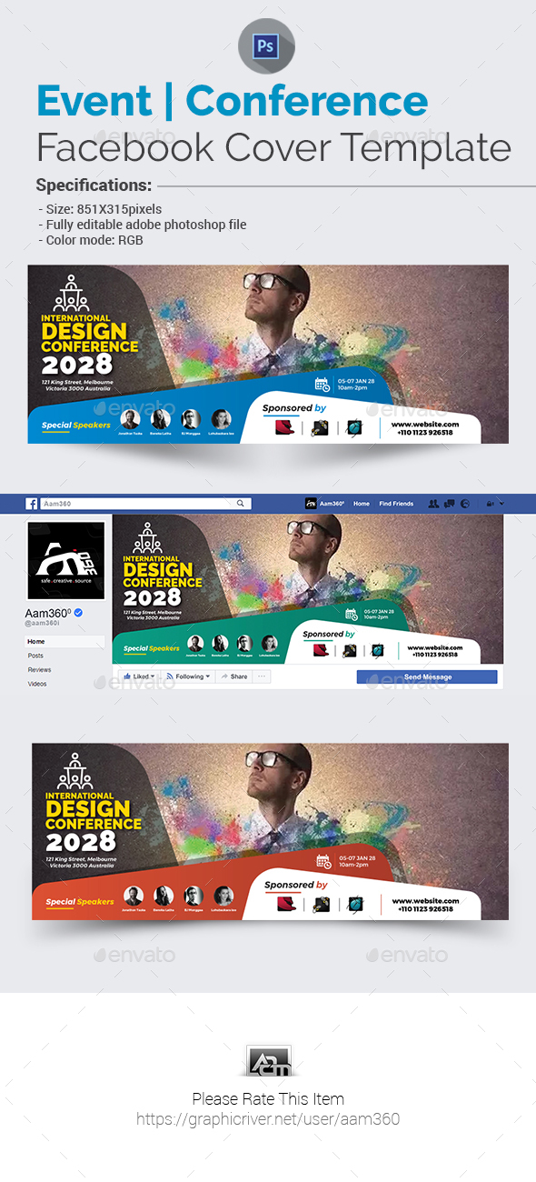 Event/Conference Facebook Cover Template - Facebook Timeline Covers Social Media