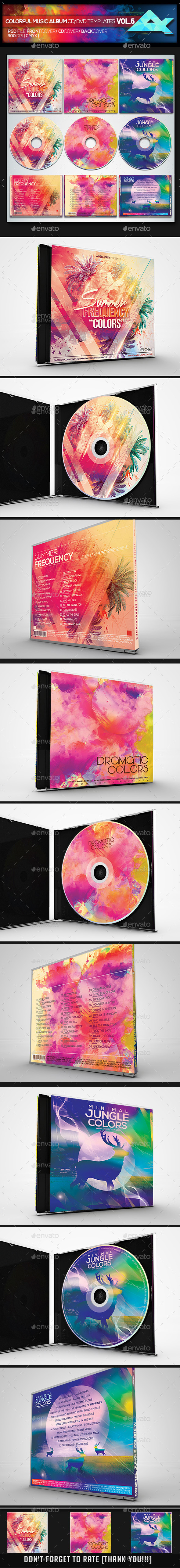 Colorful CD/DVD Album Covers Bundle Vol. 6 - CD & DVD Artwork Print Templates