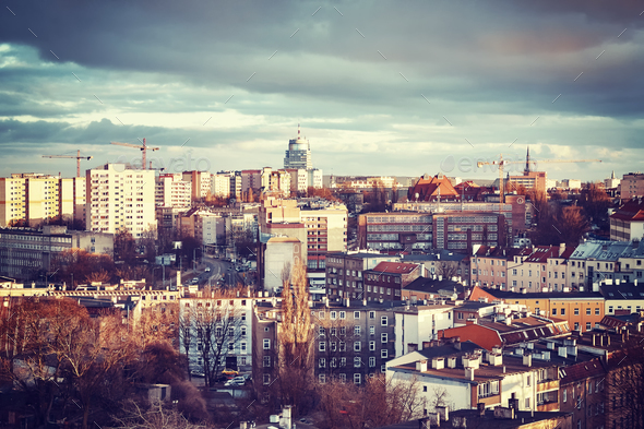 Szczecin City at sunset, Poland. - Stock Photo - Images