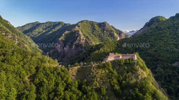 ruined Poenari fortress, Romania - Stock Photo - Images