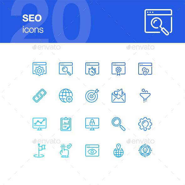 20 SEO Icons - Technology Icons
