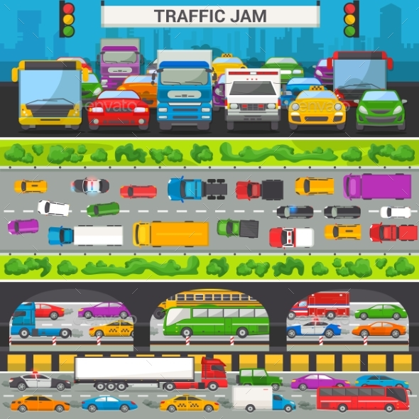 Traffic Jam Vector Transport Car Vehicle and Bus - Man-made Objects Objects