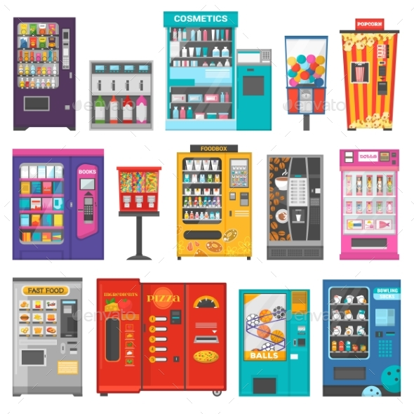 Vending Machine Vector Vend Food or Beverages - Man-made Objects Objects
