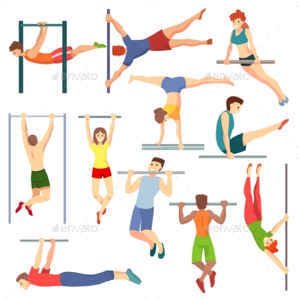 Athlete on Horizontal Bar Vector Illustration - Sports/Activity Conceptual