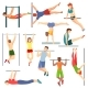 Athlete on Horizontal Bar Vector Illustration