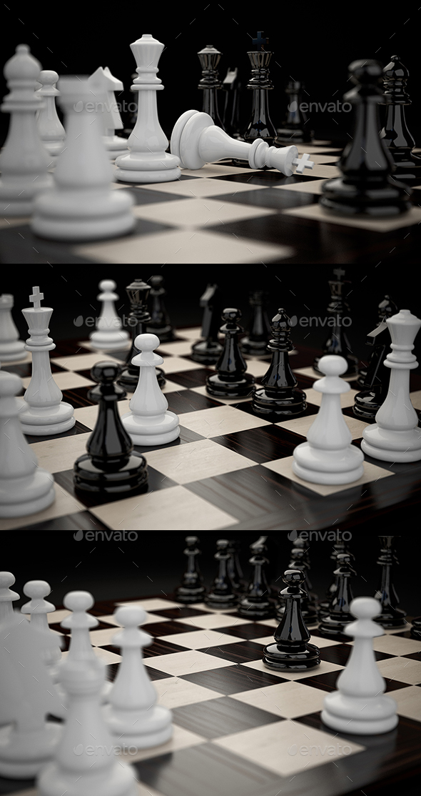 Chessboard with Figures Mini Set - 3D Backgrounds