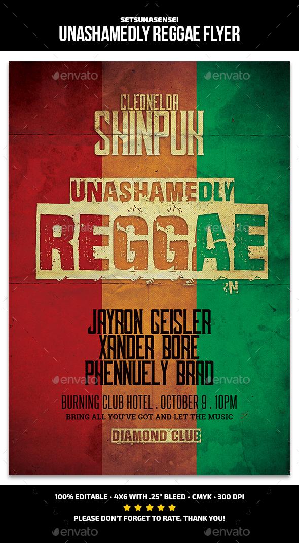 Unashamedly Reggae Flyer - Concerts Events