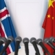 Flags of Iceland and China at International Press Conference - VideoHive Item for Sale