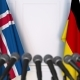 Flags of Iceland and Germany at International Press Conference - VideoHive Item for Sale