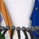 Flags of India and the European Union at International Press Conference - VideoHive Item for Sale