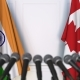 Flags of India and Canada at International Press Conference - VideoHive Item for Sale
