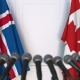Flags of Iceland and Canada at International Press Conference - VideoHive Item for Sale