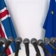 Flags of Iceland and the European Union at International Press Conference - VideoHive Item for Sale