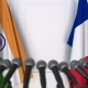 Flags of India and France at International Press Conference - VideoHive Item for Sale