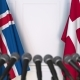 Flags of Iceland and Denmark at International Press Conference - VideoHive Item for Sale