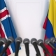 Flags of Iceland and Colombia at International Press Conference - VideoHive Item for Sale