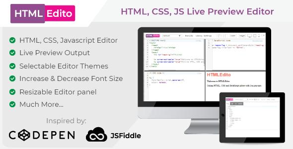 HTMLEdito - HTML, CSS, JavaScript Live Editor - CodeCanyon Item for Sale