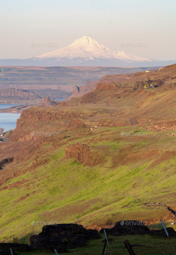 Columbia River Valley Canyon Ridge Mount Hood Cascade Range - Stock Photo - Images