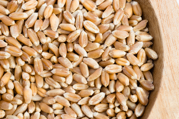 Pearl Barley Pearled Whole Grain Food Wood Ramikin - Stock Photo - Images